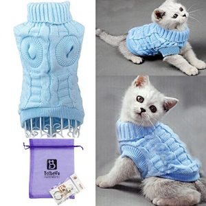 BroBear-Cable-Knit-Turtleneck-Sweater-for-Small-Dogs-Cats-Knitwear-Blue-X-Large-0