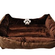 HappyCare-Textiles-Reversible-Rectangle-Pet-Bed-with-Dog-Paw-Printing-Coffee-0-0