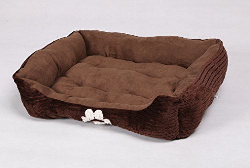 HappyCare-Textiles-Reversible-Rectangle-Pet-Bed-with-Dog-Paw-Printing-Coffee-0